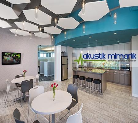 beşgen akustik tavan kumaş kaplı panel