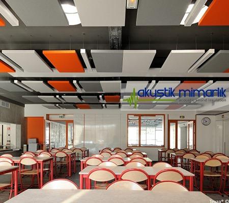 renkli akustik yüzer tavan paneli