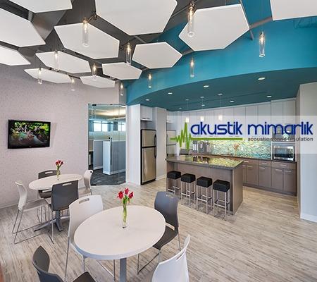 beşgen akustik yüzer tavan paneli